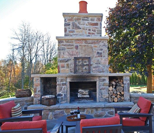 photo of a large stone fireplace