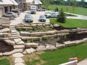 Custom Landscaping Stone products displayed after completion