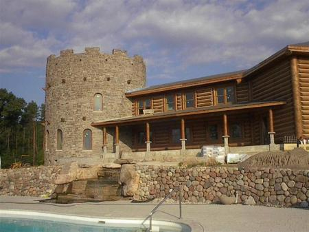 Brown stone castle showcasing stone products supplied for the project.
