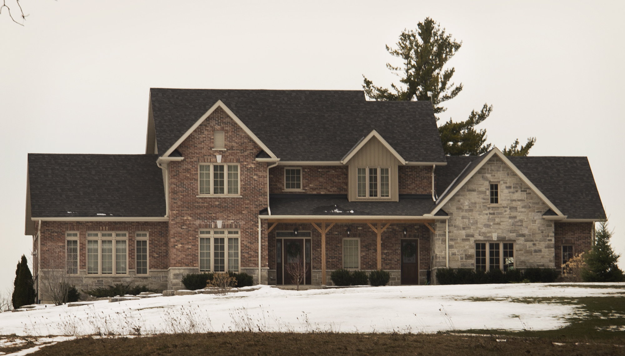 Photo taken of custom home brick and stone products supplied by Allstone