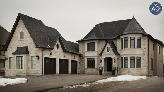 Photo taken from far of allstone home completed in Oakville