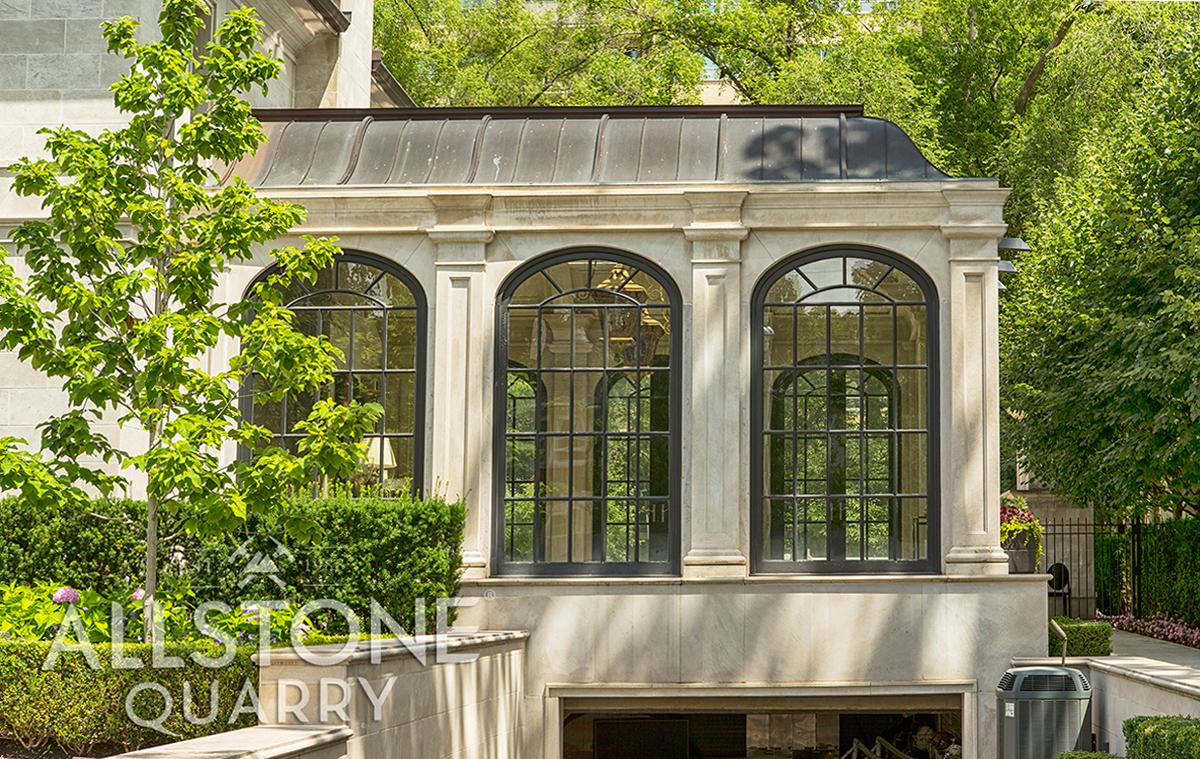 Photo of limestone custom cut to fit onto home