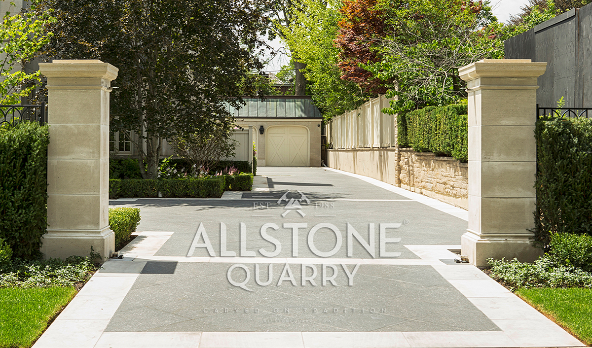 Stone Front Entrance With Custom Cut Limestone