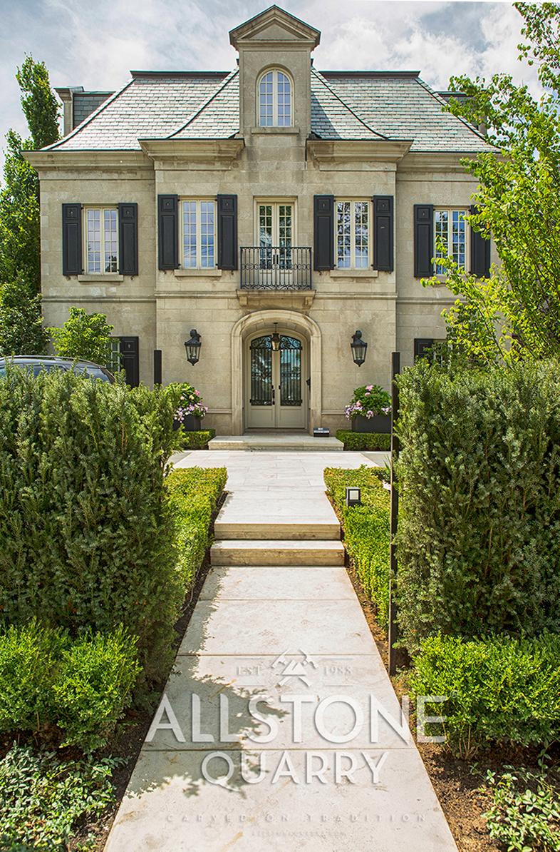Garden in front of house made with Indiana Limestone