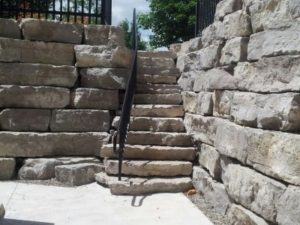 stacked armour stone retaining wall