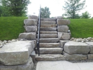 Armour Stone Stairs with Railing